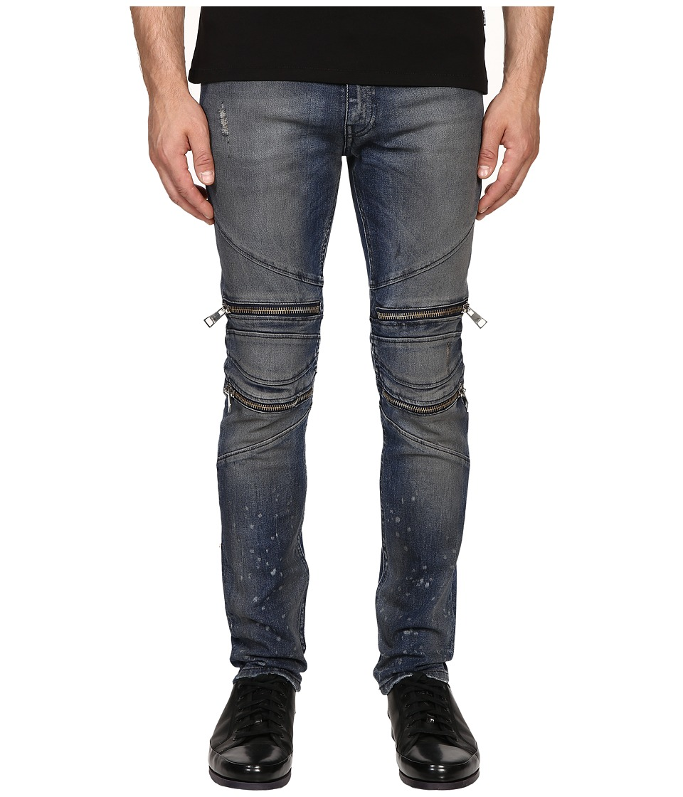 Just Cavalli - Vintage Dirty Black Moto Denim (Blue Denim) Men's Jeans