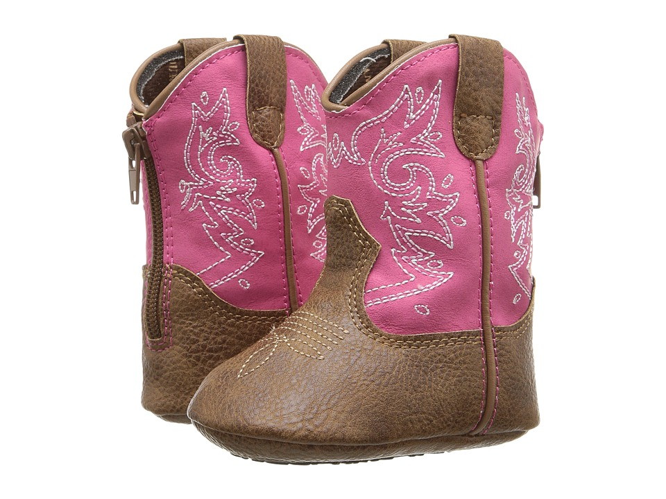 Durango Kids - 5 Pink Western Bootie (Infant) (Tan/Pink) Cowboy Boots