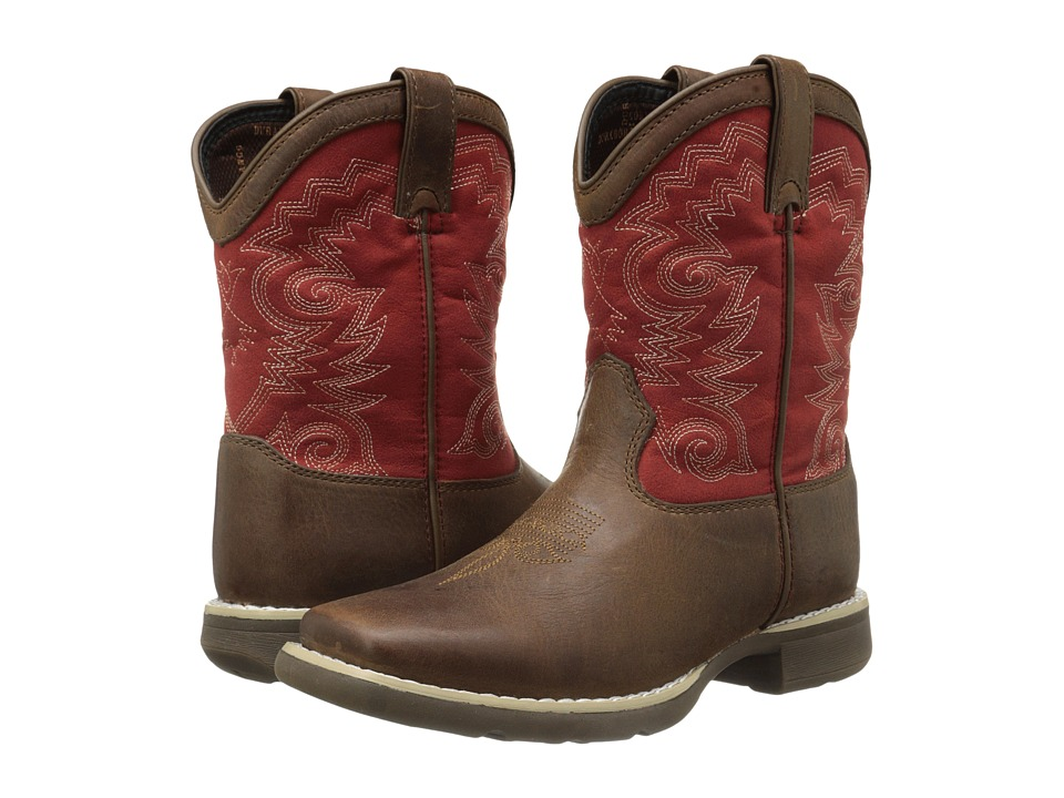 Durango Kids - 8 Western Lil' Durango Square Toe (Toddler/Little Kid) (Brown/Red) Cowboy Boots