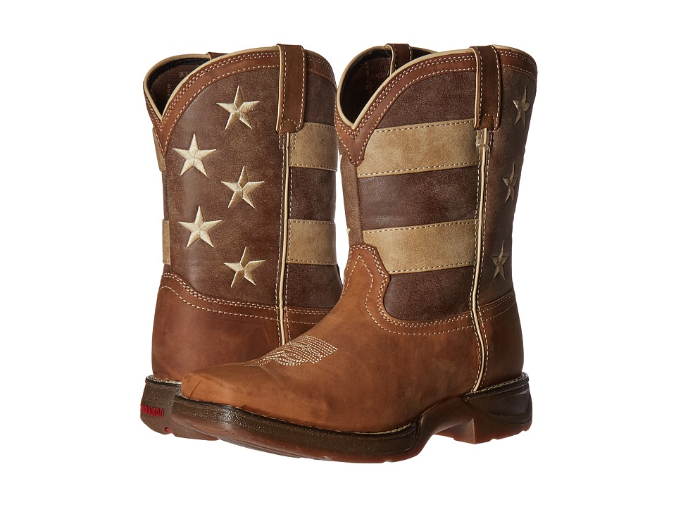 Durango Kids - 8 Faded Glory Lil' Rebel Square Toe (Big Kid) (Brown/Distressed Union Flag) Cowboy Boots