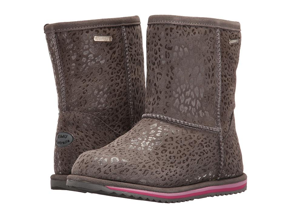 EMU Australia Kids - Leopard Brumby (Toddler/Little Kid/Big Kid) (Charcoal) Girls Shoes