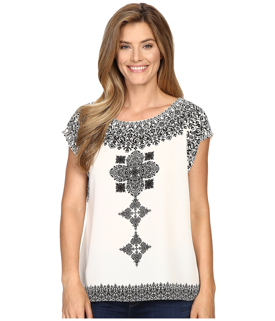 Vince Camuto - Drop Shoulder Ornate Blocks Panel Blouse (Light Cream) Women's Blouse