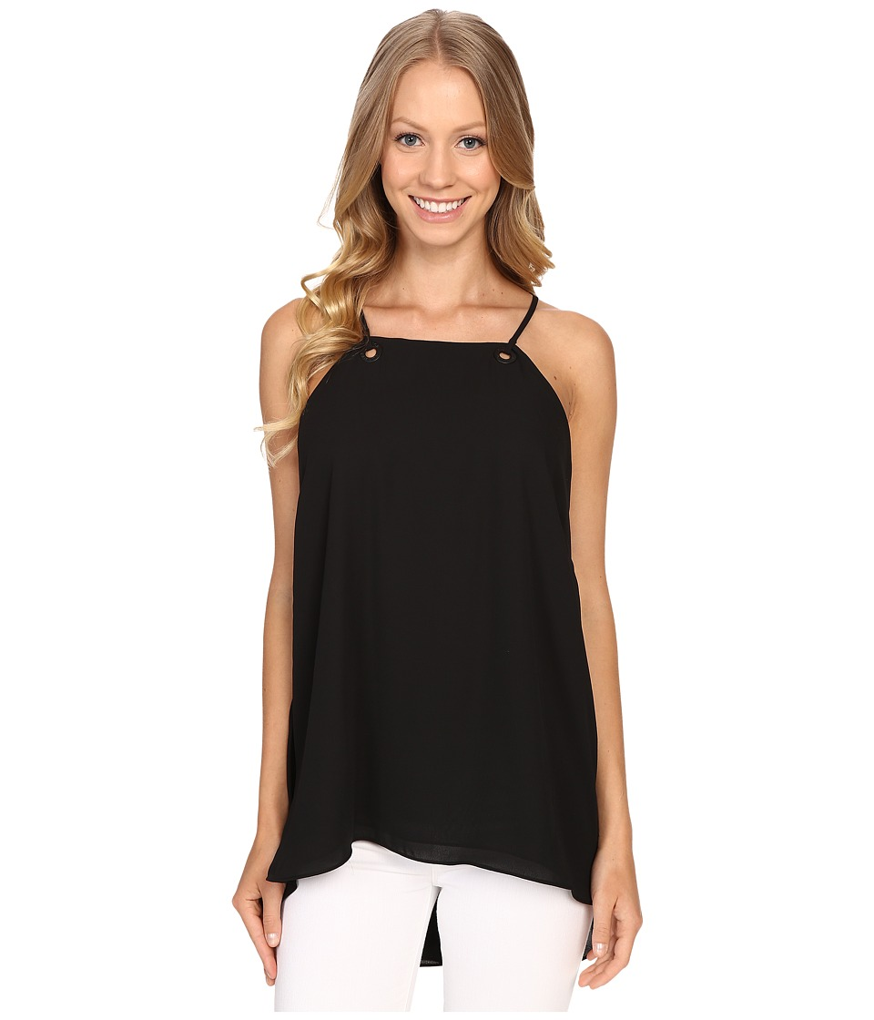 Vince Camuto - High-Low Hem Tank Top w/ Grommet Detail (Rich Black) Women's Sleeveless
