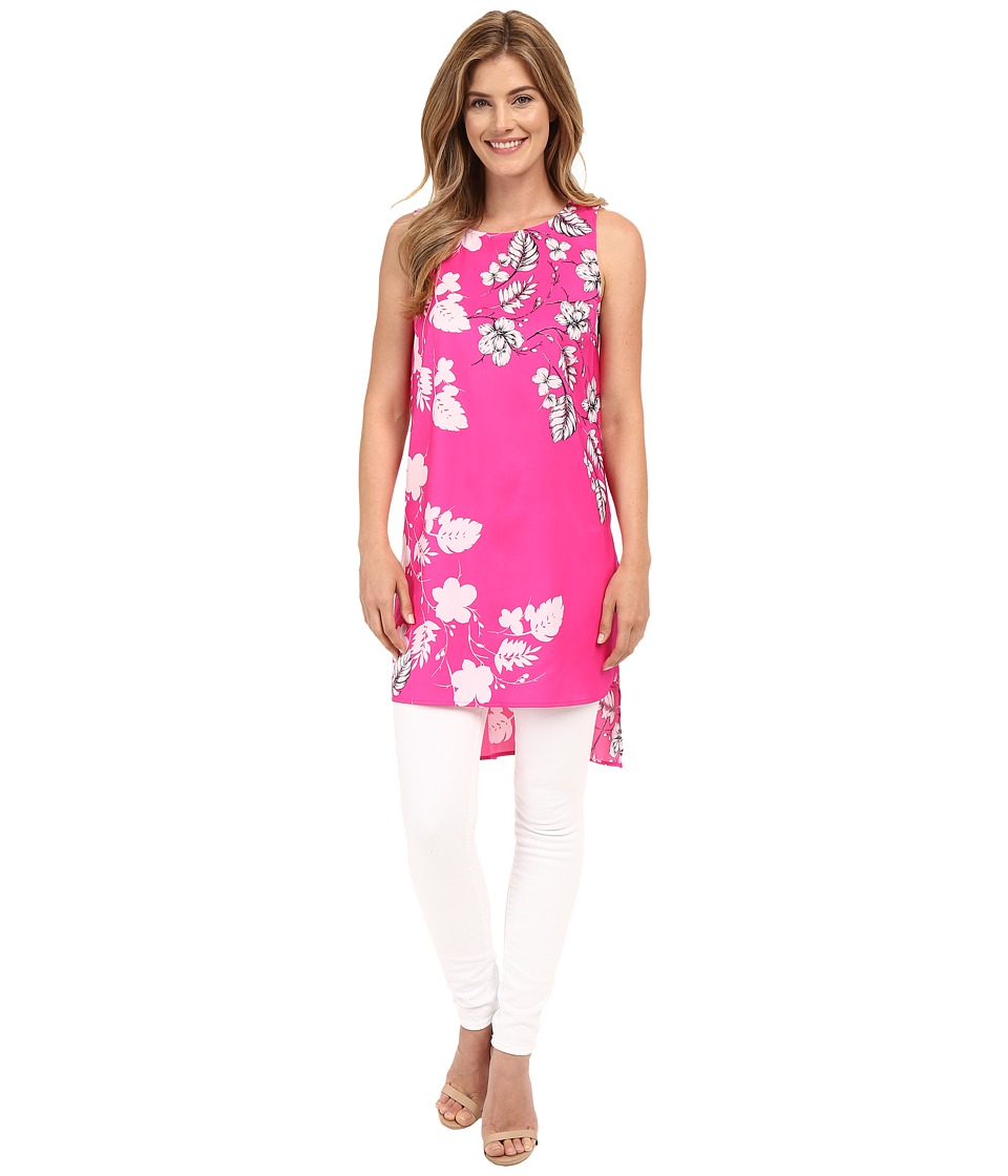 Vince Camuto - Sleeveless Floral Cascade Long Tunic (Pop Pink) Women's Blouse