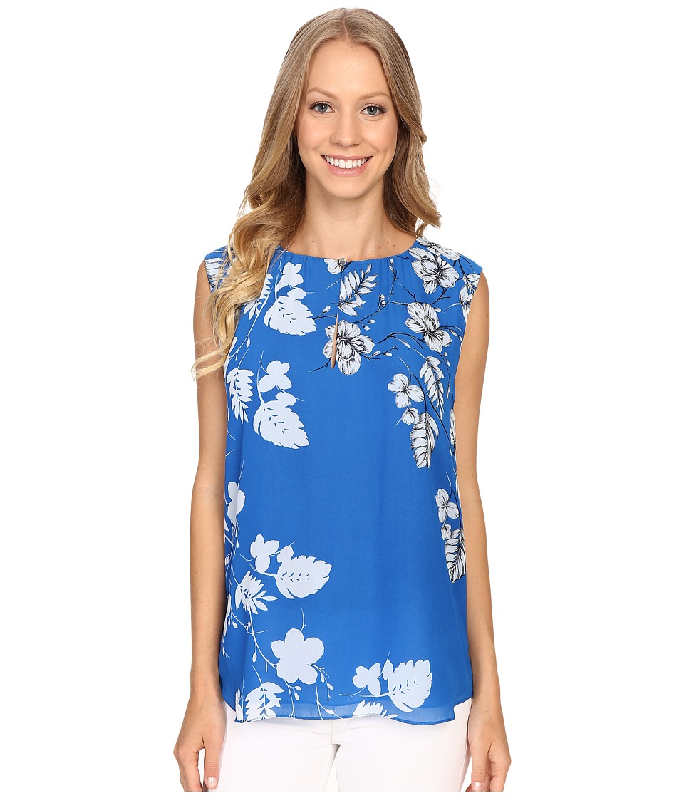 Vince Camuto - Sleeveless Floral Cascade Keyhole Blouse (Poolside) Women's Blouse
