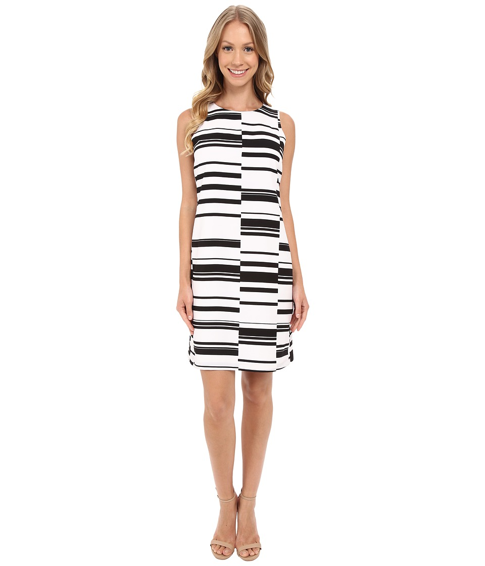 Vince Camuto - Sleeveless Graphic Stagger Stripe Shift Dress (Ultra White) Women's Dress