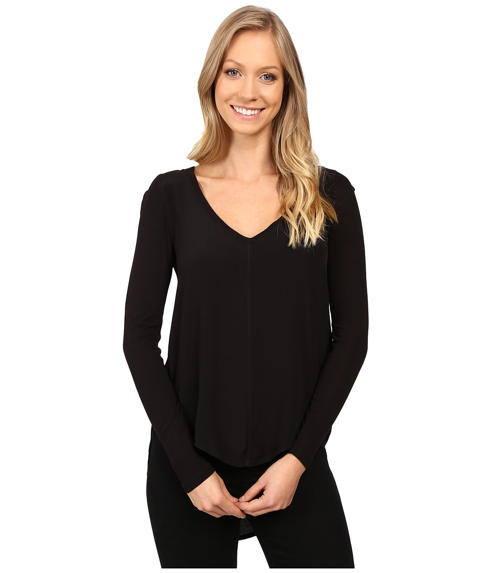Calvin Klein Jeans - Mixed Media Solid Long Sleeve Blouse (Black) Women's Blouse