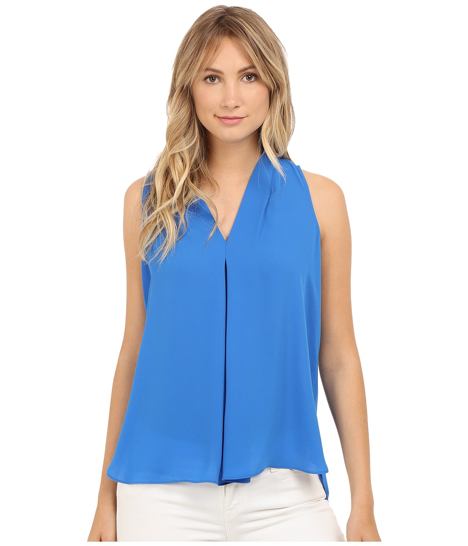 Vince Camuto - Sleeveless V-Neck Blouse w/ Inverted Front Pleat (Poolside) Women's Blouse