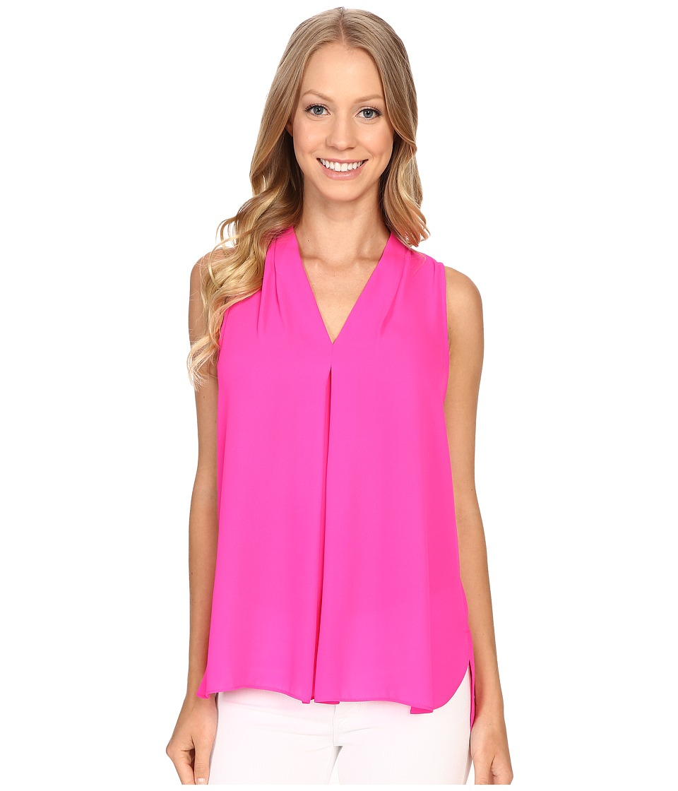 Vince Camuto - Sleeveless V-Neck Blouse w/ Inverted Front Pleat (Pop Pink) Women's Blouse