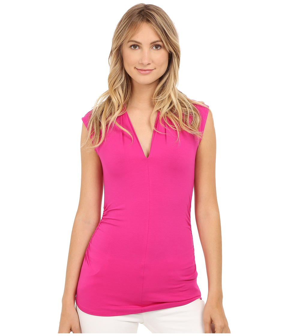 Vince Camuto - Sleeveless Pleat V-Neck Top (Pink Nectar) Women's Sleeveless