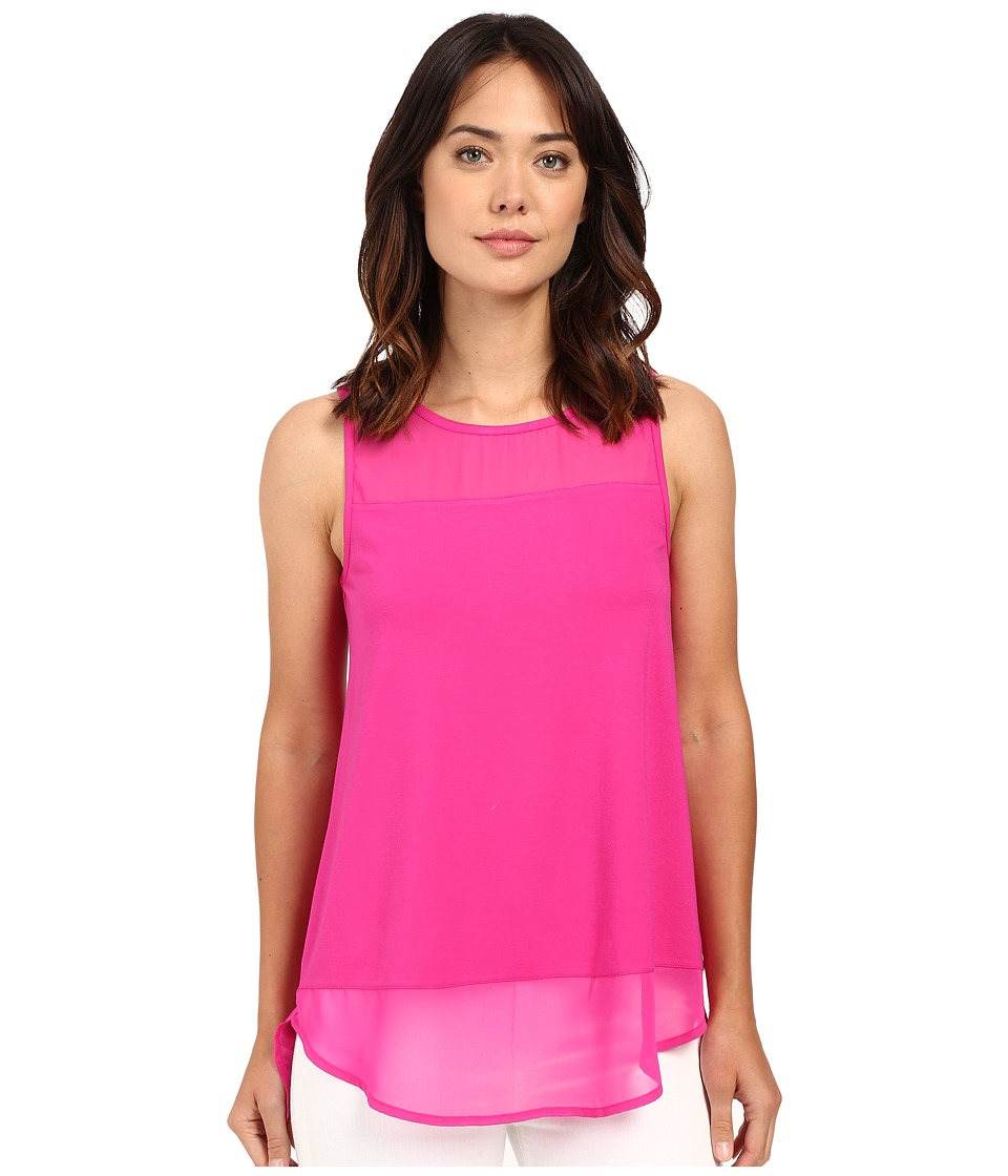 Vince Camuto - Sleeveless Top w/ Poly Chiffon Yoke and Hem (Pink Nectar) Women's Sleeveless