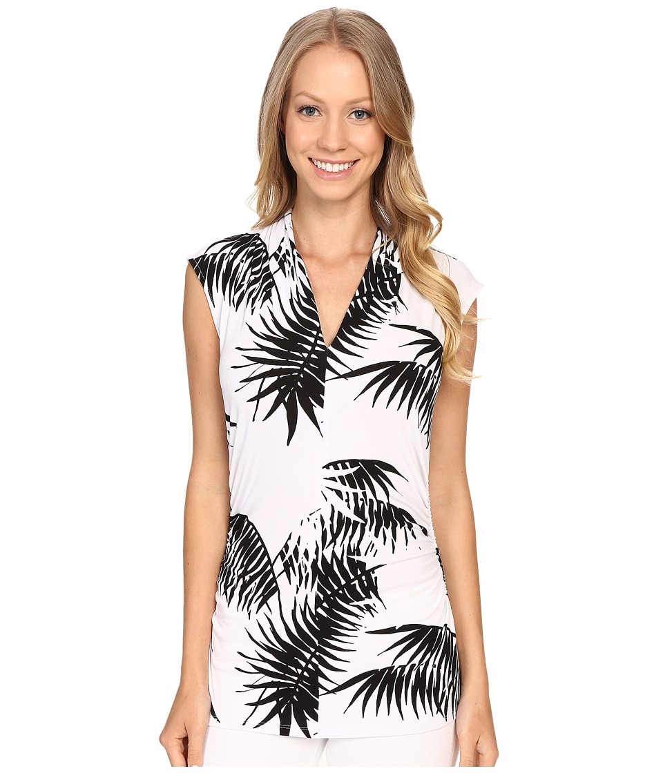 Vince Camuto - Sleeveless Palm Silhouette Pleat V-Neck Top (Ultra White) Women's Blouse