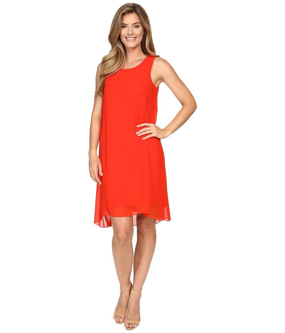 Vince Camuto - Sleeveless Chiffon Overlay Dress (Fiery Red) Women's Dress