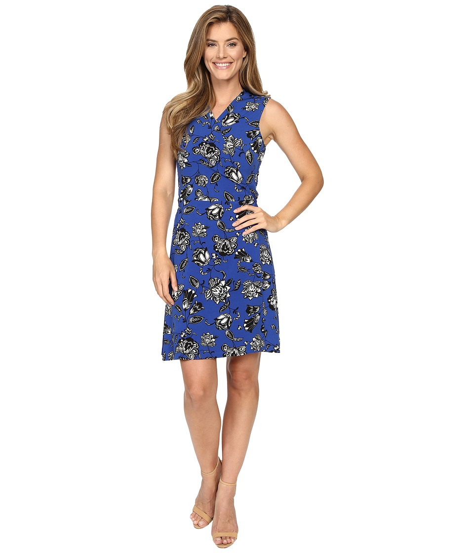 Vince Camuto - Sleeveless Wood Block Floral Wrap Dress (Casbah Blue) Women's Dress