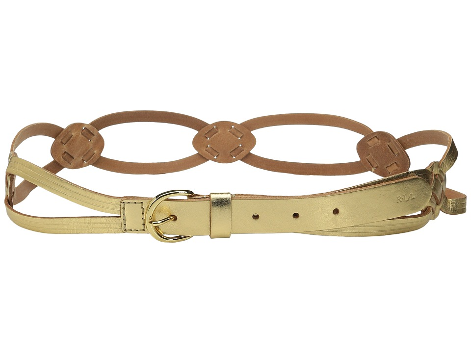 LAUREN Ralph Lauren - Classics 1 Skinny Braid Belt w/ C-Buckle (Gold) Women's Belts