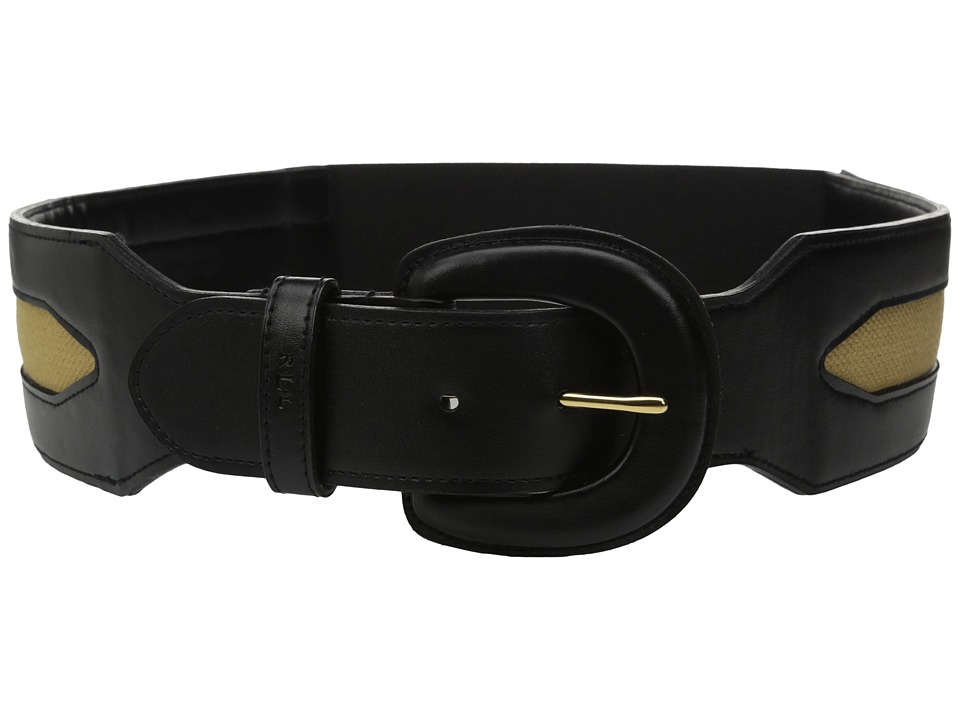 LAUREN Ralph Lauren - Classics 2 1/2 Leather Covered Buckle Stretch Belt w/ Smooth PU Inset Canvas (Black) Women's Belts