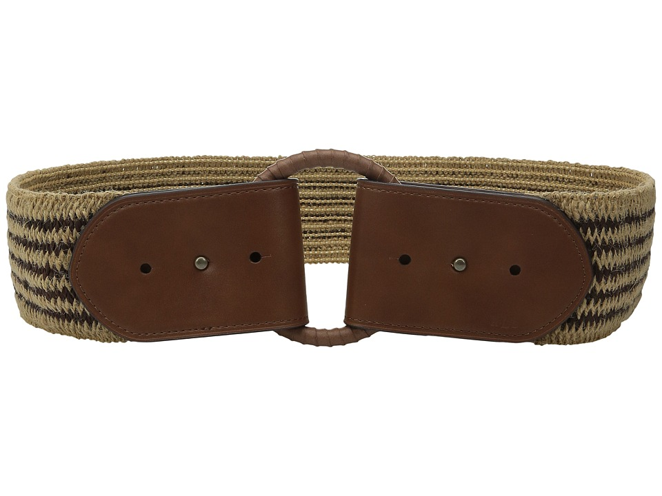 LAUREN Ralph Lauren - 2 1/2 Wood O-Ring On Mixed Media Woven Stretch (Brown/Natural/Tan) Women's Belts