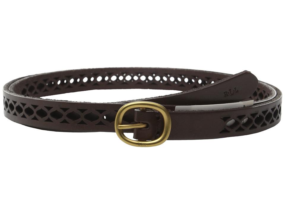 LAUREN Ralph Lauren - Classics 1/2 Skinny Perf Belt w/ Centerbar Buckle (Chocolate) Women's Belts