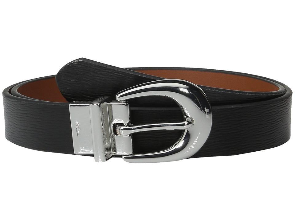 LAUREN Ralph Lauren - 1 Saffiano to Smooth Reversible Belt (Black/Lauren Tan) Women's Belts