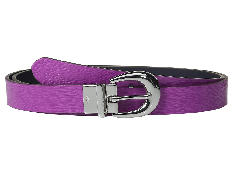 LAUREN Ralph Lauren - 1 Saffiano to Smooth Reversible Belt (Bright Orchid/Navy) Women's Belts