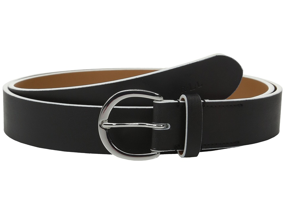 LAUREN Ralph Lauren - 1 1/8 Milford Endbar Belt w/ Contrast Edge (Black/White) Women's Belts