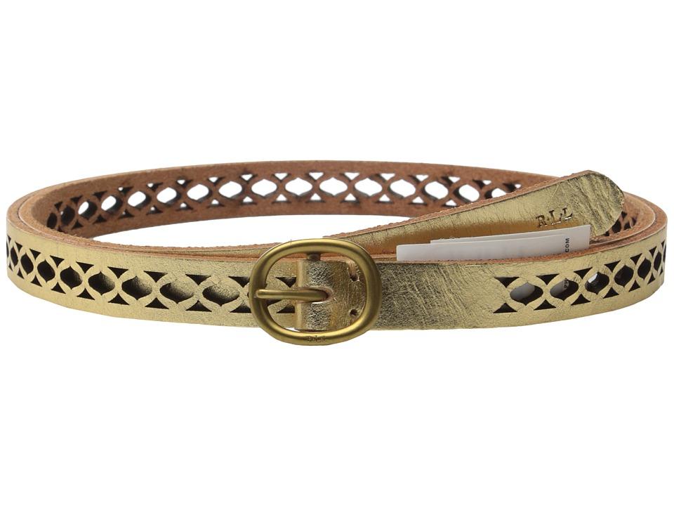 LAUREN Ralph Lauren - Classics 1/2 Skinny Perf Belt w/ Centerbar Buckle (Gold) Women's Belts