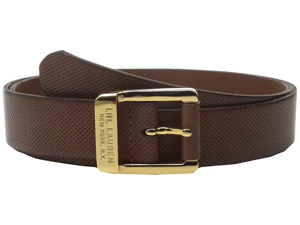 LAUREN Ralph Lauren - Classics Sutton 1 3/8 Small Perf Leather w/ Centerbar (Cognac) Women's Belts