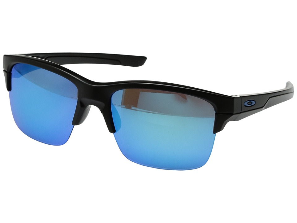 Oakley - (A) Thinlink (Matte Black/Sapphire Iridium) Plastic Frame Fashion Sunglasses