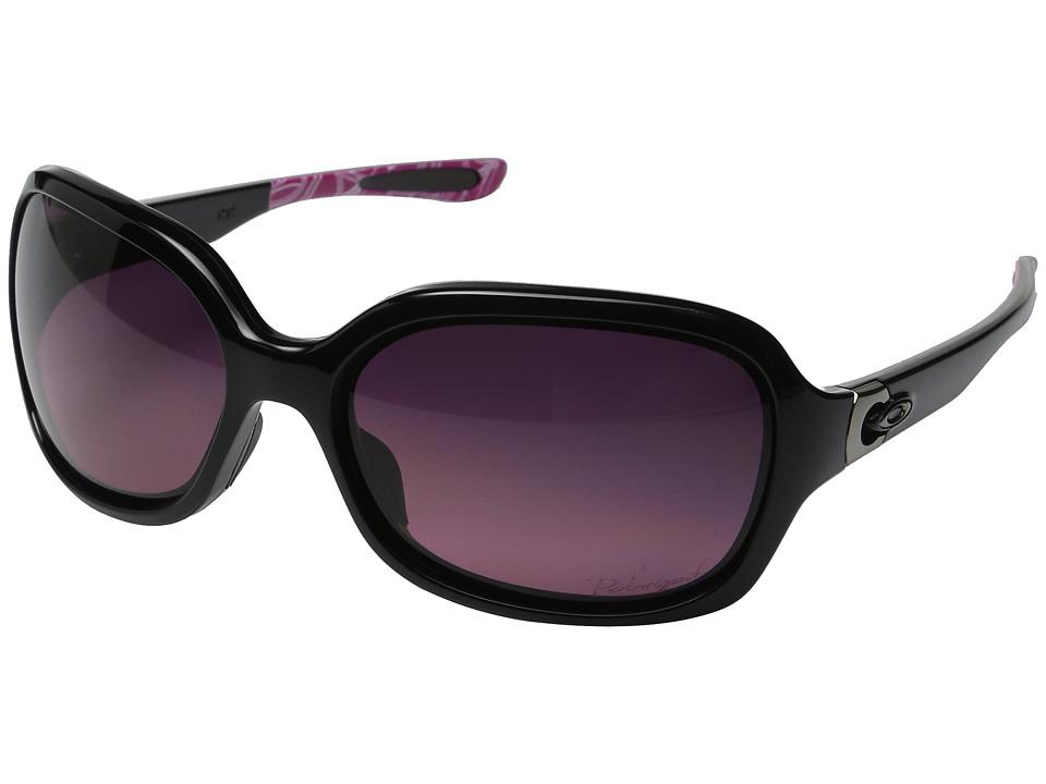 Oakley - Pulse (Polished Black/SmokeyO/Rose Gradient Polarized) Sport Sunglasses