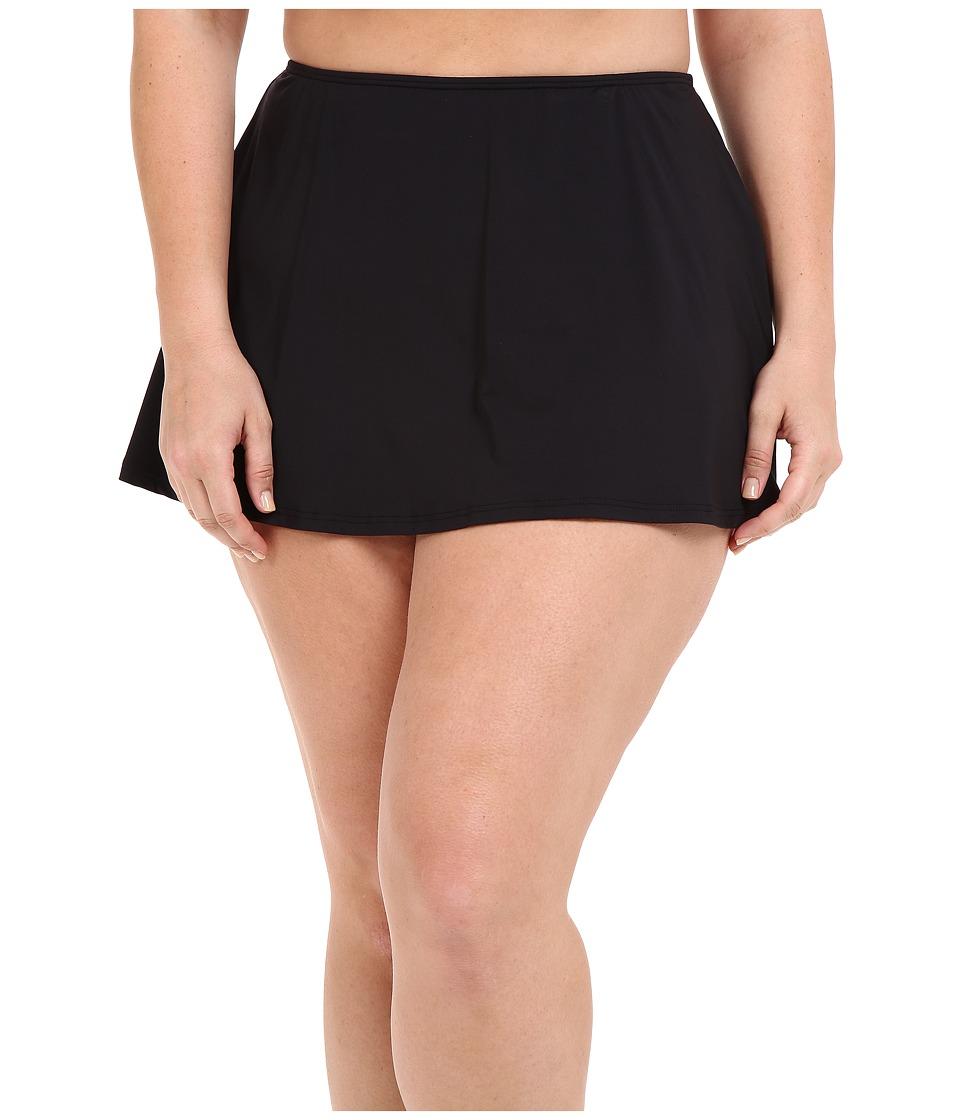 MICHAEL Michael Kors - Logo Solids Skirted Bottom Plus (Black) Women's Swimwear plus size,  plus size fashion plus size appare