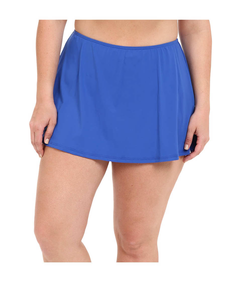 MICHAEL Michael Kors - Logo Solids Skirted Bottom Plus (Amalfi) Women's Swimwear plus size,  plus size fashion plus size appare