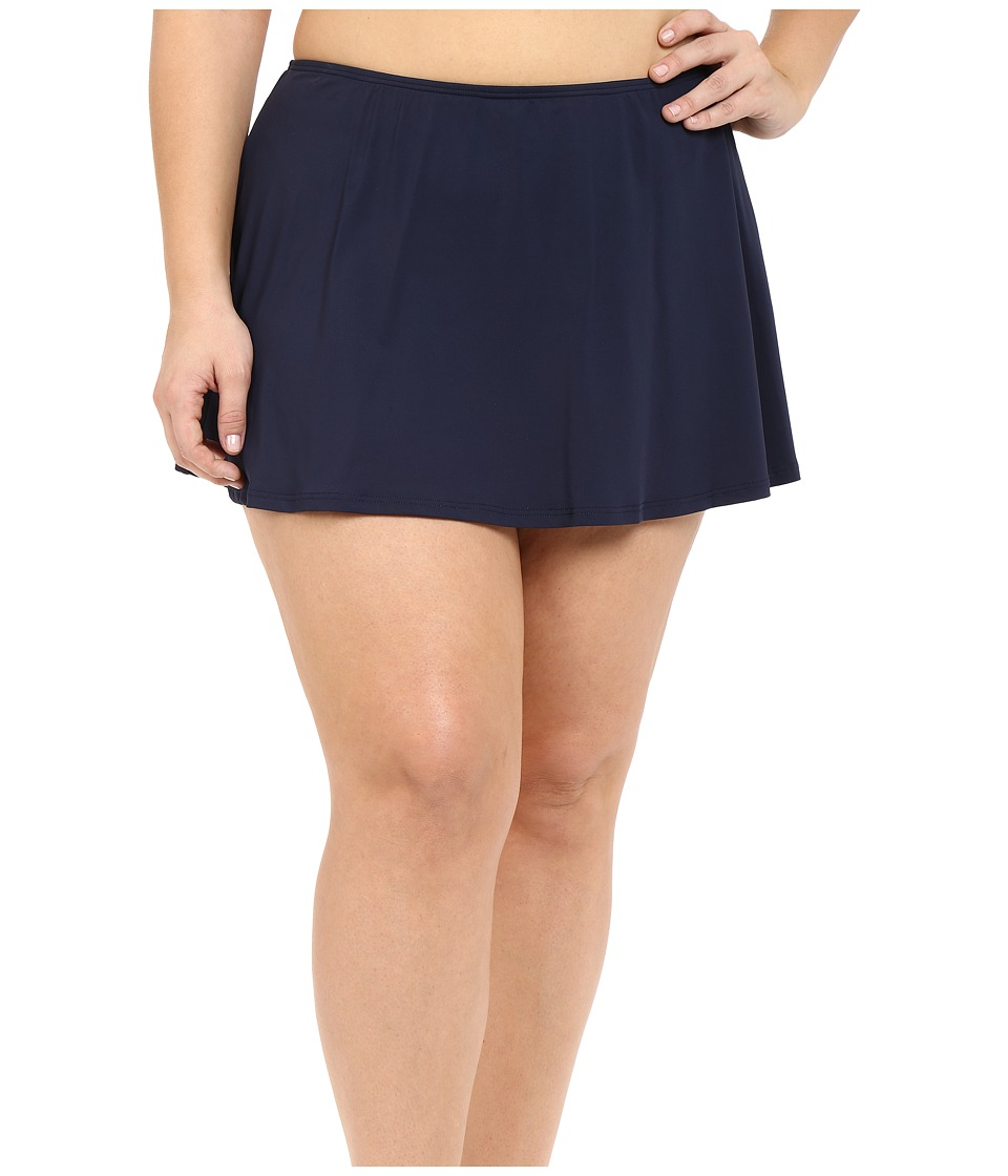 MICHAEL Michael Kors - Logo Solids Skirted Bottom Plus (New Navy) Women's Swimwear plus size,  plus size fashion plus size appare