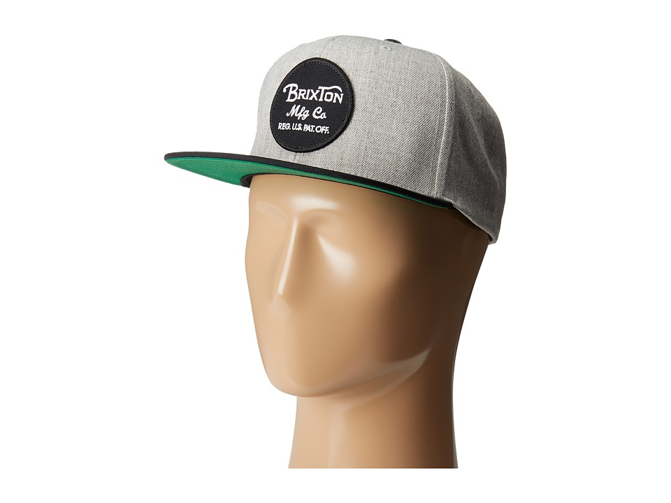 Brixton - Wheeler Snapback (Light Heather Grey/Black) Caps