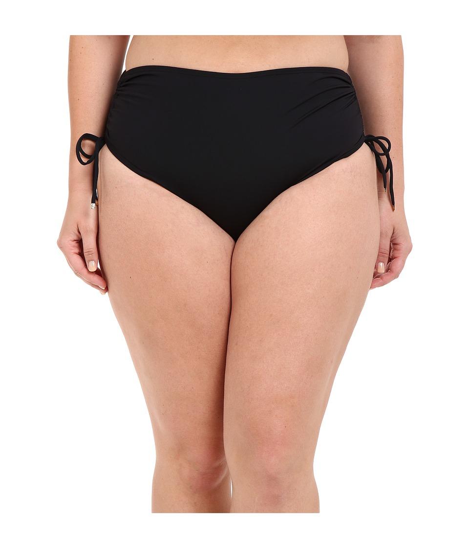 MICHAEL Michael Kors - Logo Solids Shirred Hipster Bottom Plus (Black) Women's Swimwear plus size,  plus size fashion plus size appare