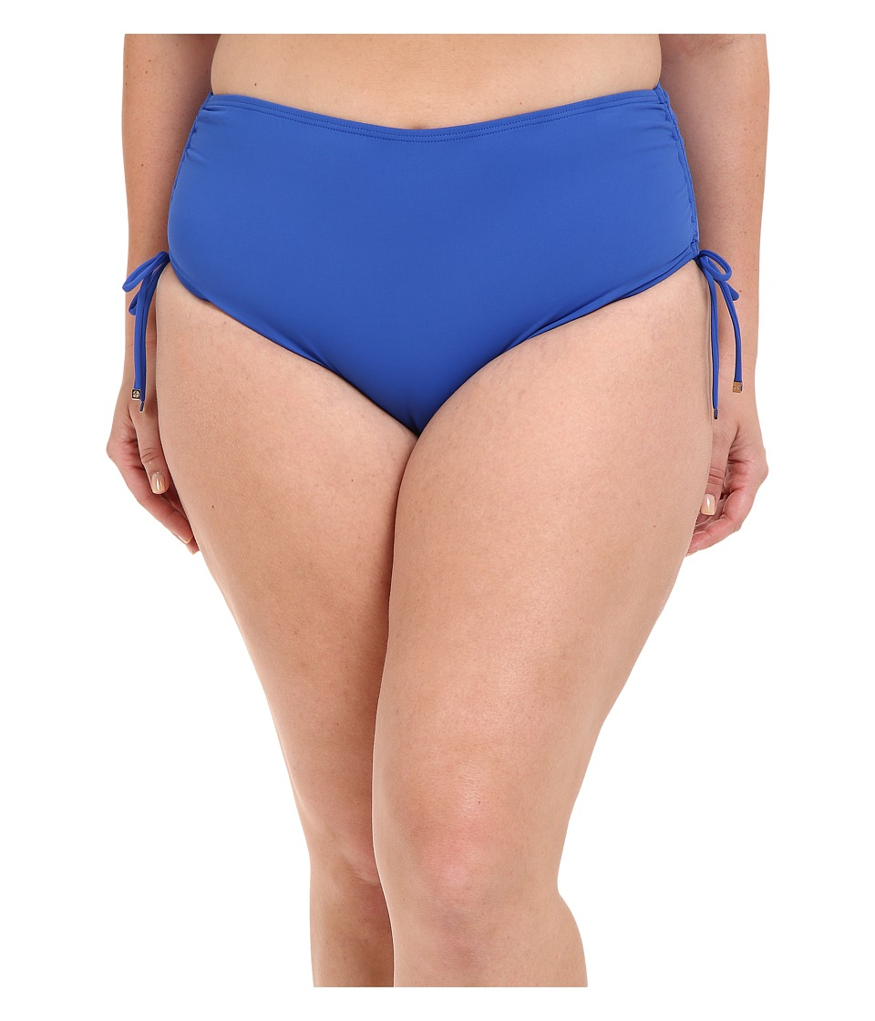 MICHAEL Michael Kors - Logo Solids Shirred Hipster Bottom Plus (Amalfi) Women's Swimwear plus size,  plus size fashion plus size appare