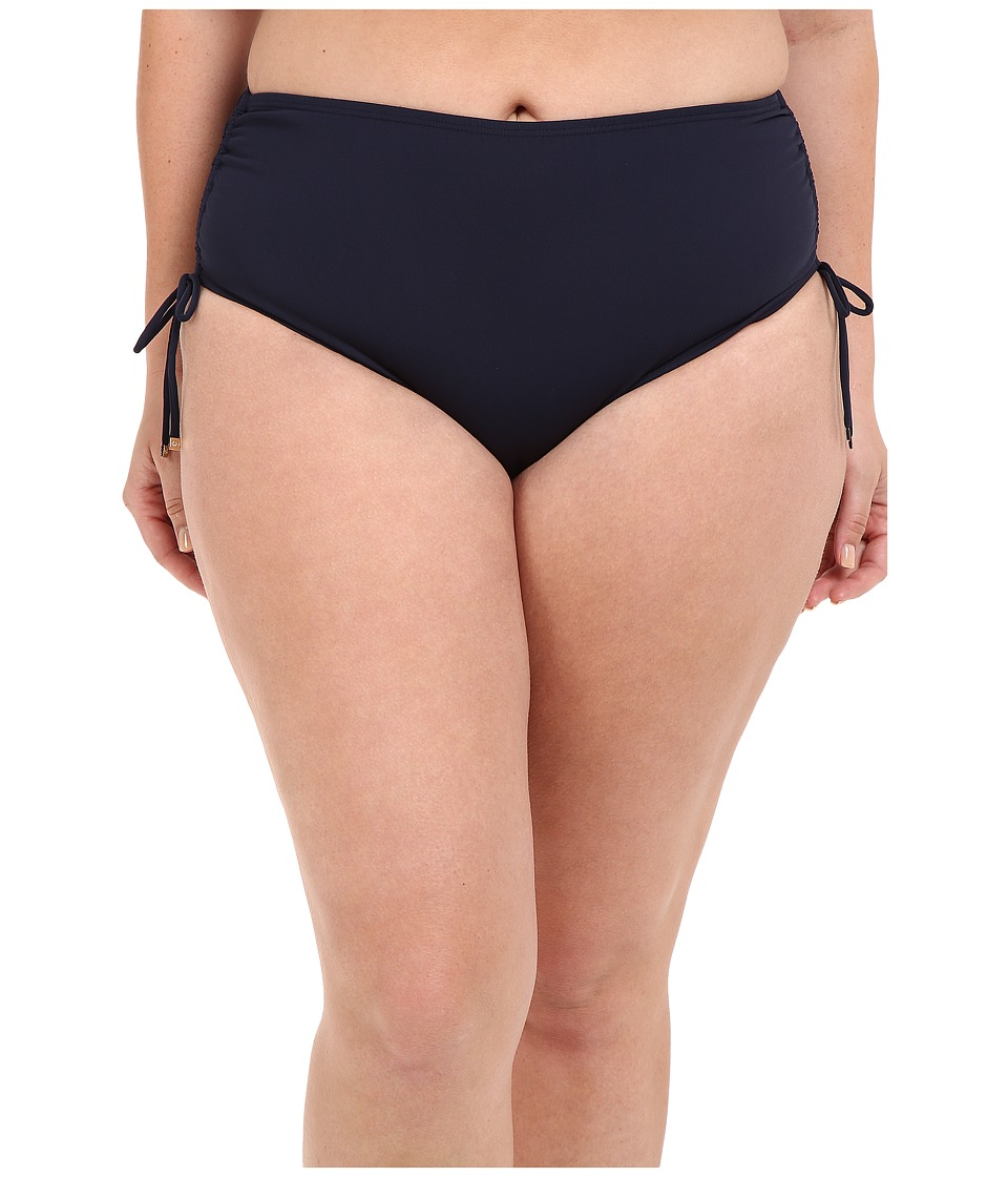 MICHAEL Michael Kors - Logo Solids Shirred Hipster Bottom Plus (New Navy) Women's Swimwear