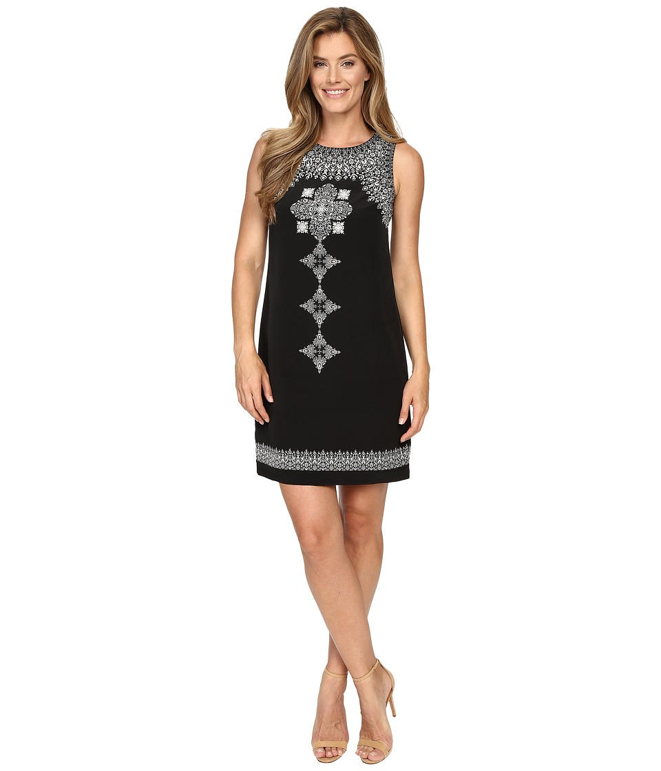 Vince Camuto - Sleeveless Ornate Blocks Panel Shift Dress (Rich Black) Women's Dress