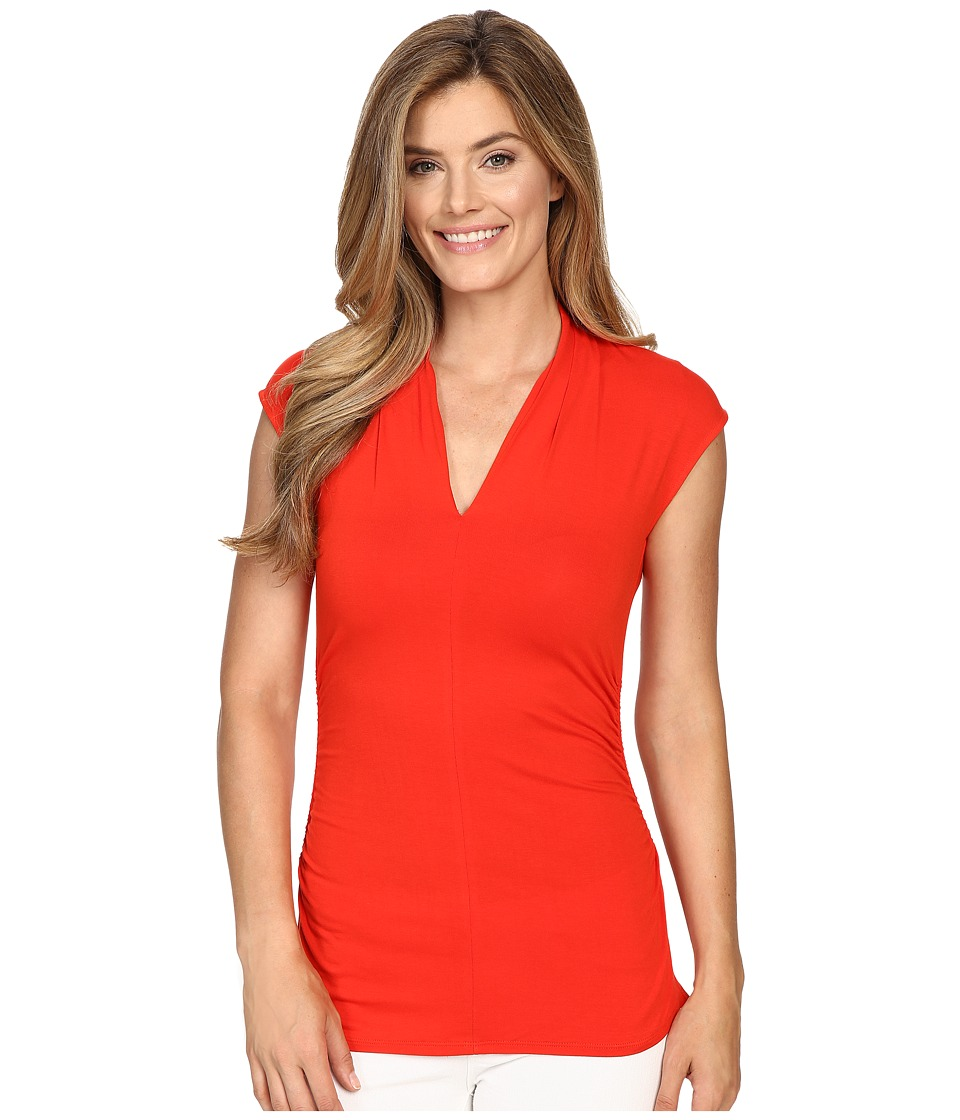 Vince Camuto - Sleeveless Pleat V-Neck Top (Fiery Red) Women's Sleeveless