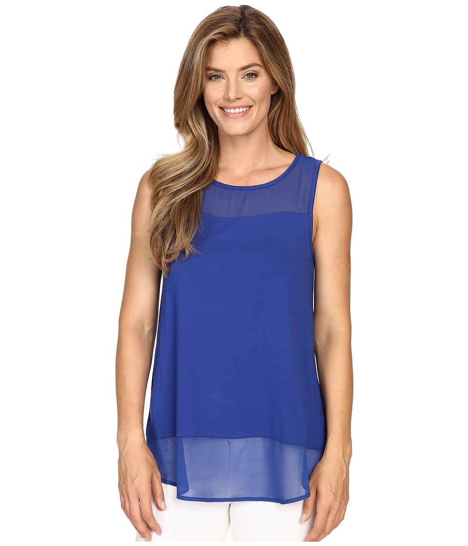 Vince Camuto - Sleeveless Top w/ Poly Chiffon Yoke and Hem (Casbah Blue) Women's Sleeveless