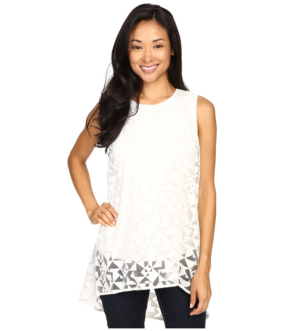 Vince Camuto - Sleeveless High-Low Geo Burnout Overlay Blouse (New Ivory) Women's Blouse