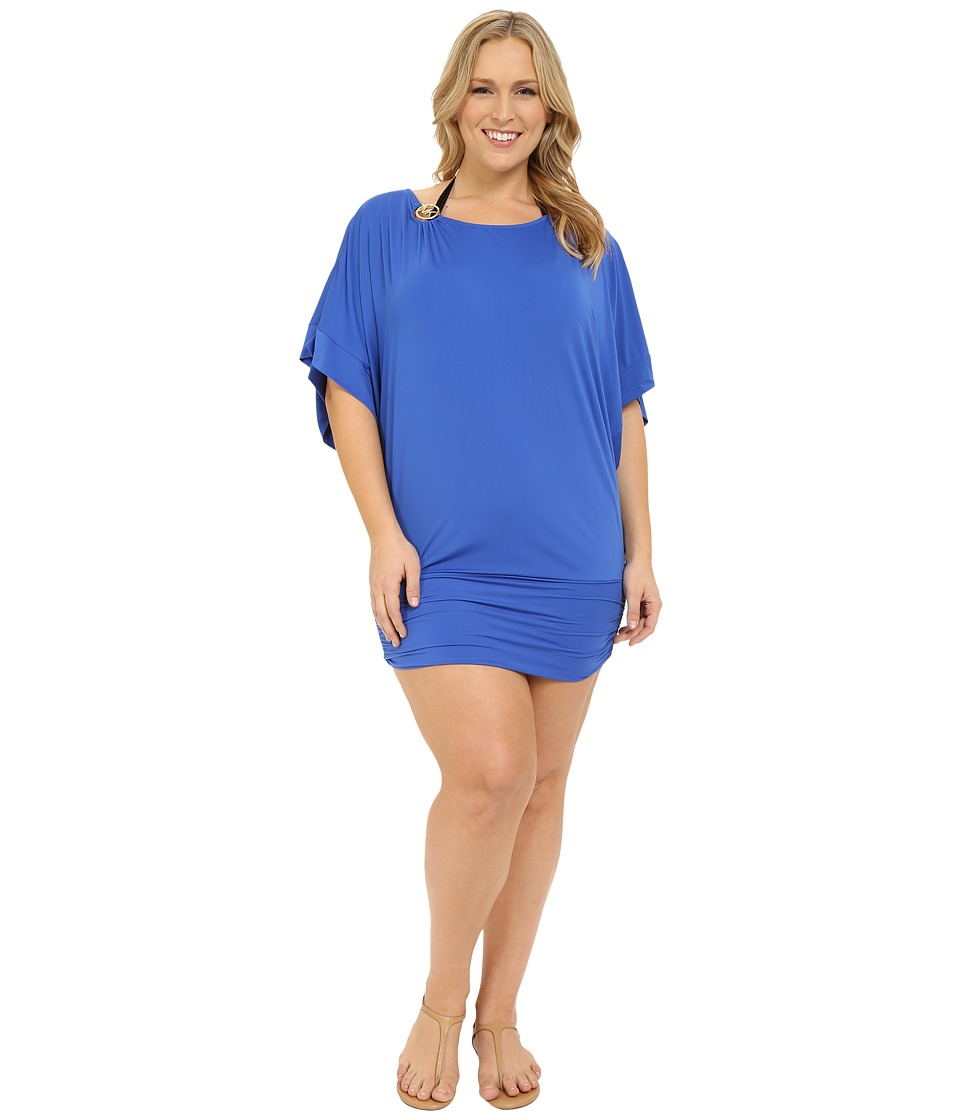 MICHAEL Michael Kors - Logo Solids Logo Ring Cover-Up Plus (Amalfi) Women's Swimwear plus size,  plus size fashion plus size appare
