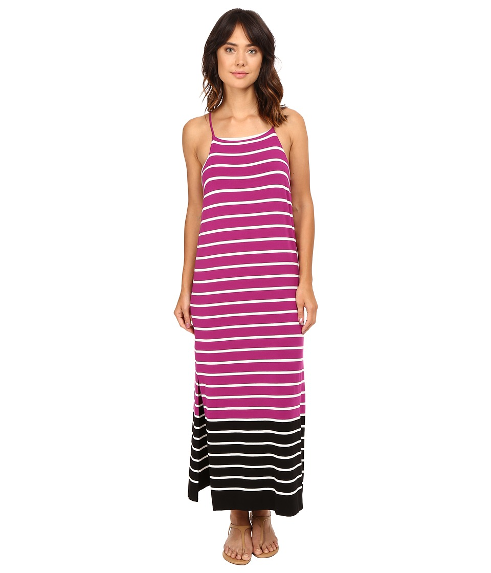 Vince Camuto - Sleeveless Magnet Stripe Dress w/ Side Slits (Plum Tart) Women's Dress