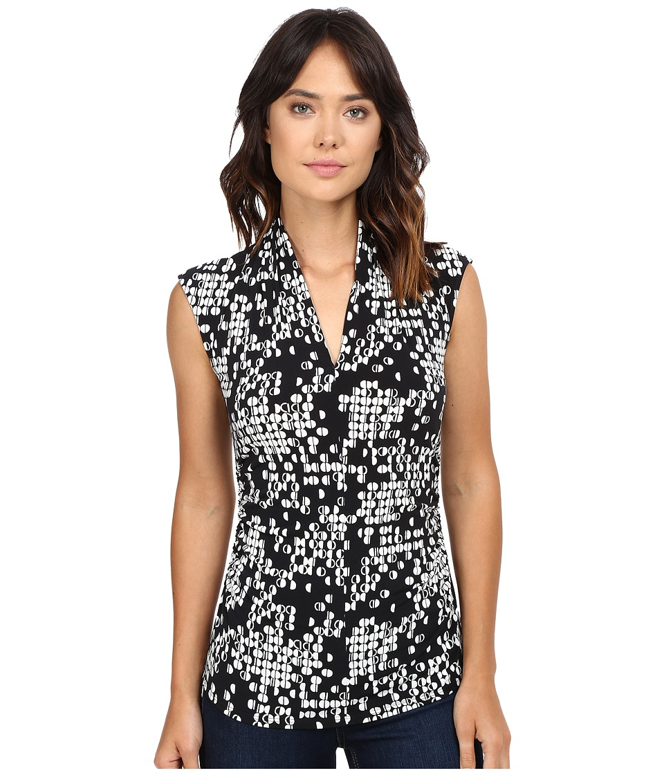 Vince Camuto - Sleeveless Dotted Cityscape Pleat V-Neck Top (Rich Black) Women's Sleeveless