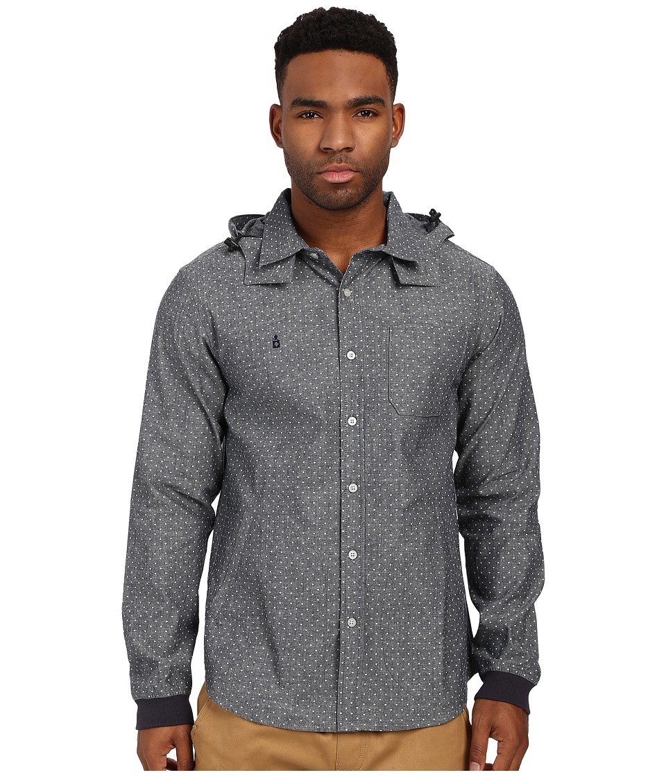 Diamond Supply Co. - Marquise Hooded Woven Top (Blue Chambray) Men's Clothing