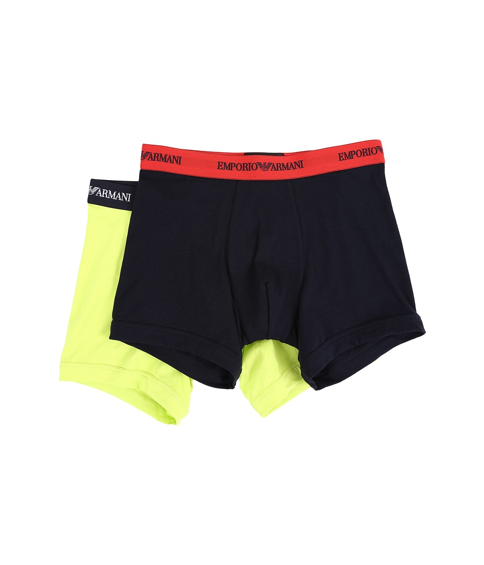 Emporio Armani - 2-Pack Stretch Cotton Boxer Brief (Marine/Acid) Men's Underwear