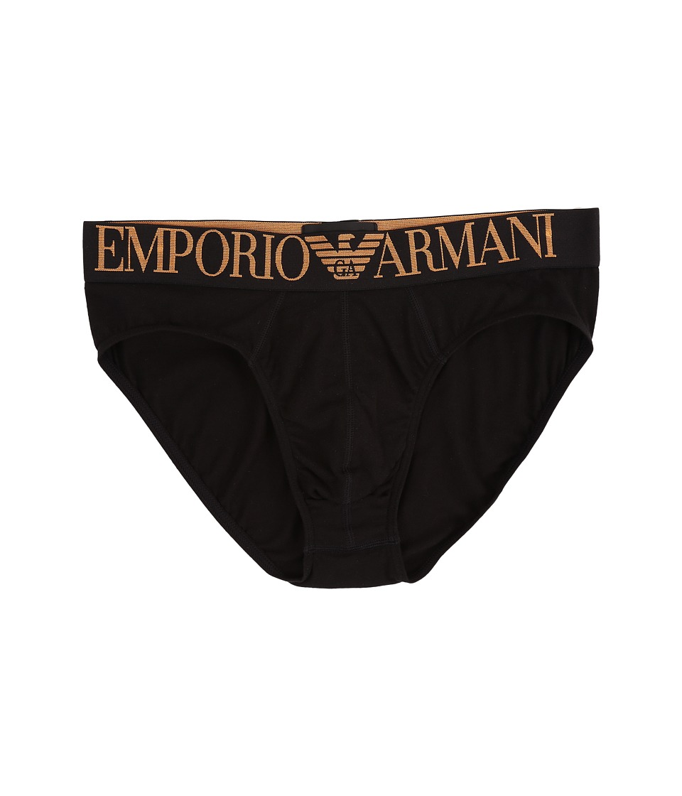 Emporio Armani - Full Metal Shaded Eagle Brief (Black) Men's Underwear