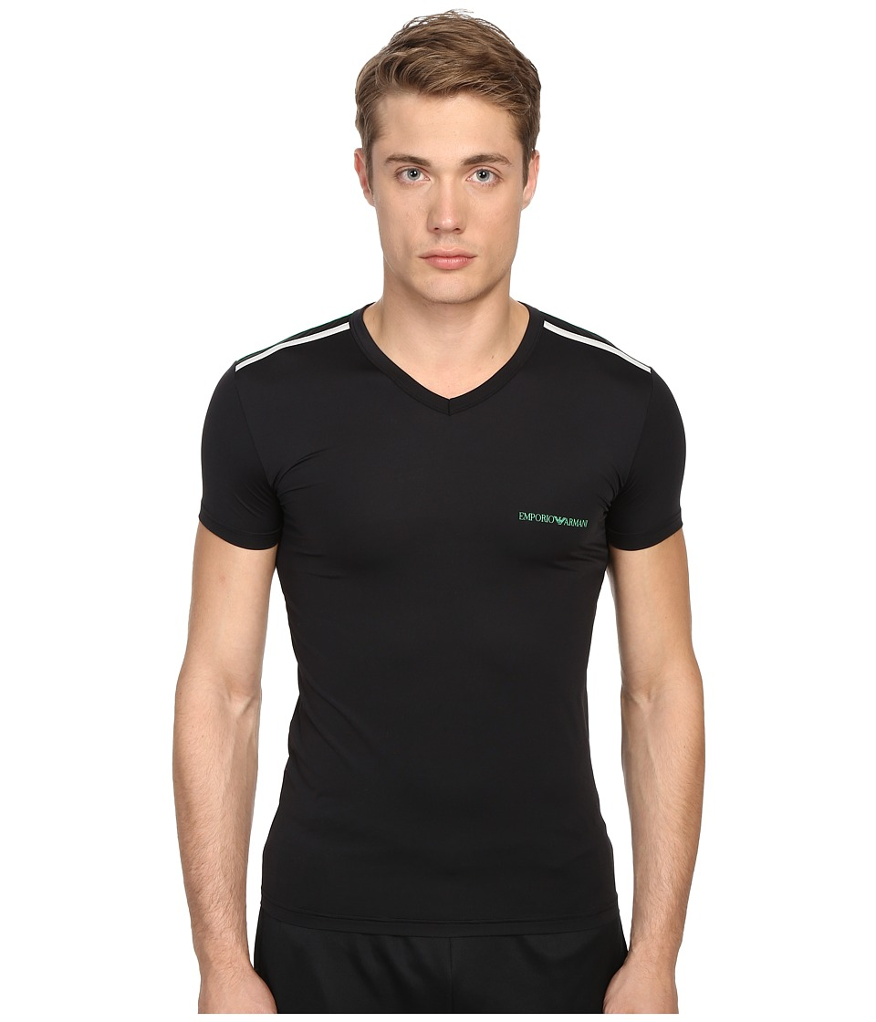 Emporio Armani - Multicolor Microfiber V-Neck Tee (Black) Men's T Shirt