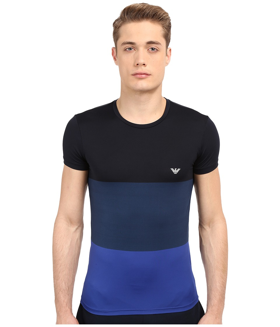 Emporio Armani - Color Block Microfiber Tee (Marine/Aviator/Elk Blue) Men's T Shirt