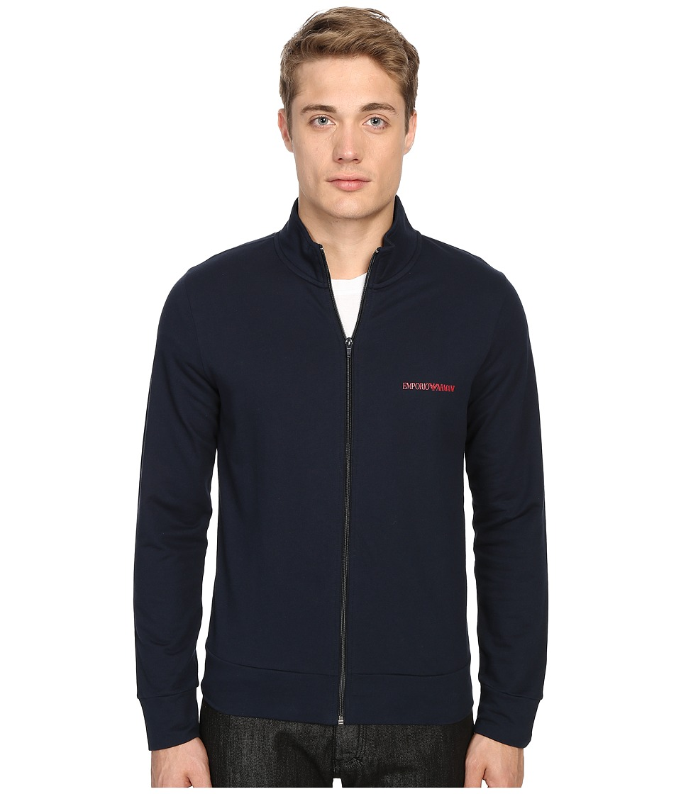 Emporio Armani - French Terry Track Jacket (Marine) Men's Coat