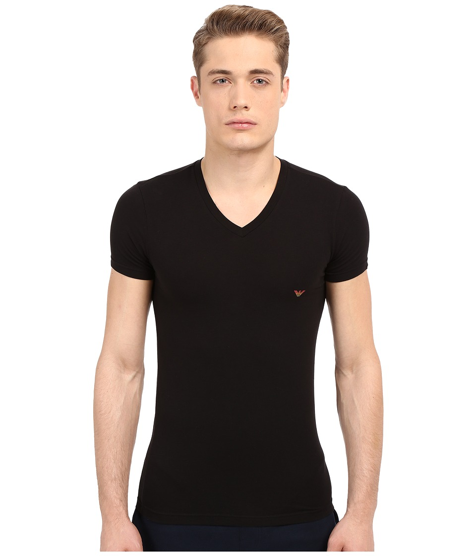 Emporio Armani - Full Metal Shaded Eagle V-Neck Tee (Black) Men's T Shirt